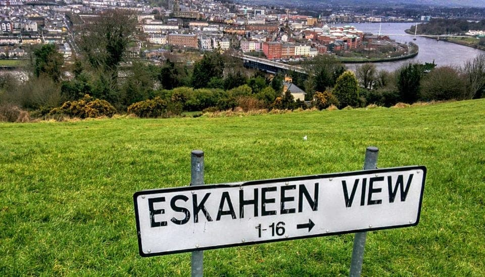 Eskaheen view from Waterside In Derry - view of the Peace bridge and the city of Derry