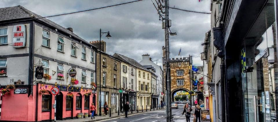 be ready for rainstorms if you are visiting Ireland, cheap umbrellas can be bought in every pound or euro shop. This is a shot of Clonmel a small Irish town with a storm moving in