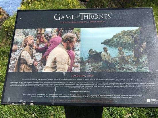Slavers bay sign at Murlough Bay Game of Thrones
