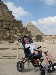 Xzavier Davis-Bilbo could visit the pyramids in this all terrain wheelchair.