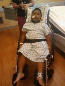 Xzavier Davis-Bilbo after he was struck by a distracted driver who was texting.