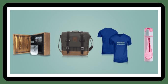 custom products whiskey box, bag, tshirt, and drinkware