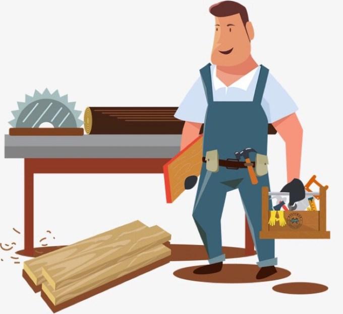 工作道具を抱えた男性の画像