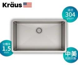 kraus kitchen sinks aid sale 克劳思克劳斯厨房水槽洗菜盆单盆1 5mm厚304不锈钢手工单槽台下式 5mm