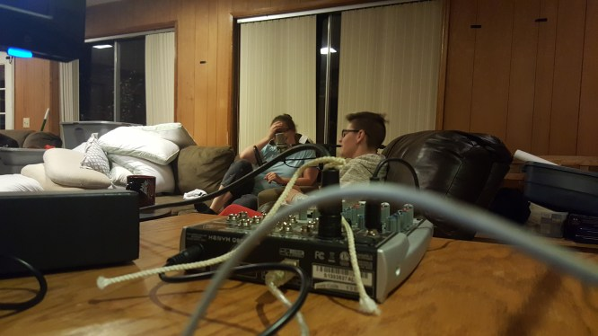 Jackie and Kaylie while recording