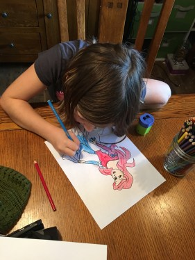 Saidey working on her Ariel.