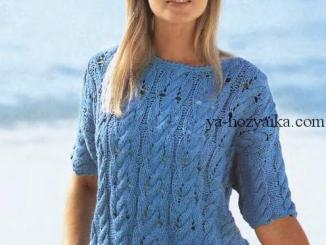 пуловер, рукава 3/4, описание