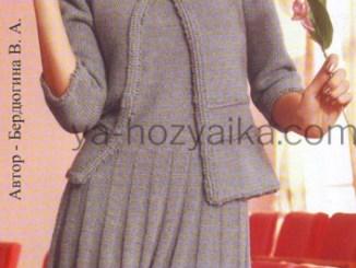 Деловой костюм из жакета и платья спицами
