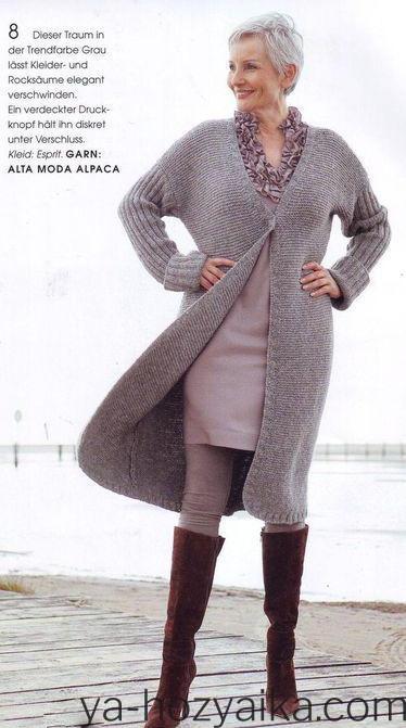 Вязаные пальто спицами со схемами и описанием