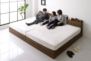 家族のための連結収納ベッド(ブラウン・ブラック)