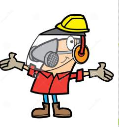 free work safety cliparts cartoon man wearing safety equipment stock vector [ 1384 x 1300 Pixel ]
