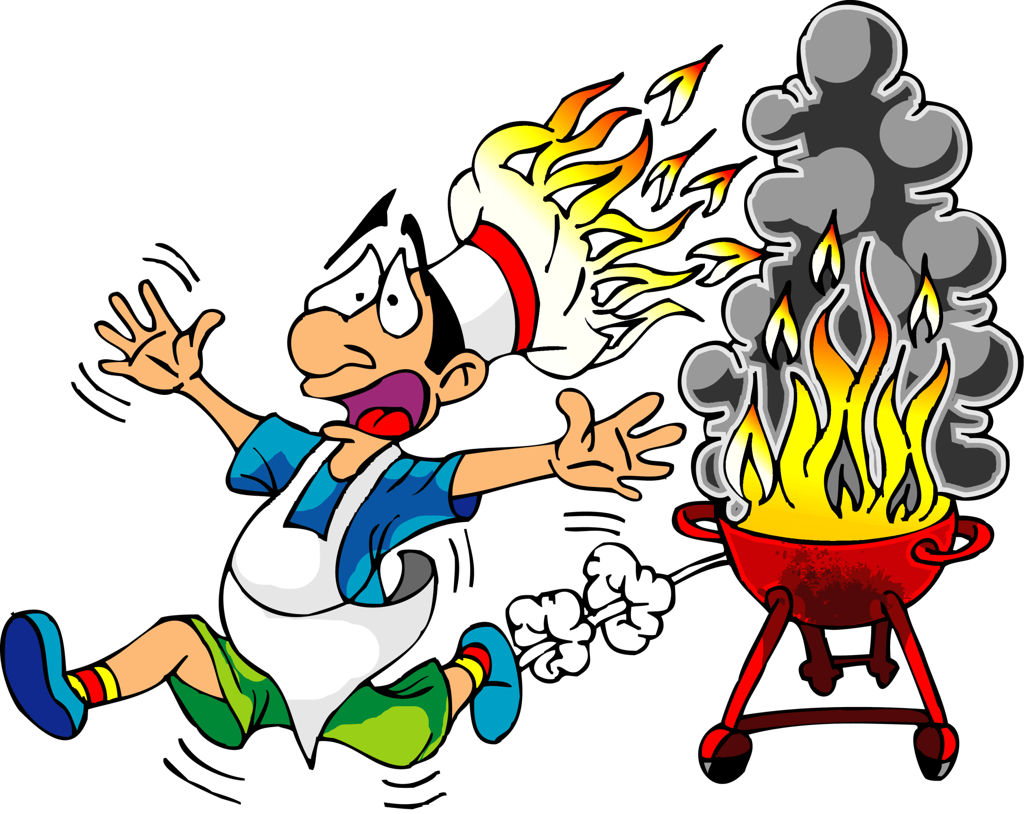 hight resolution of flames clipart bbq cook with fire hat graphic free stock