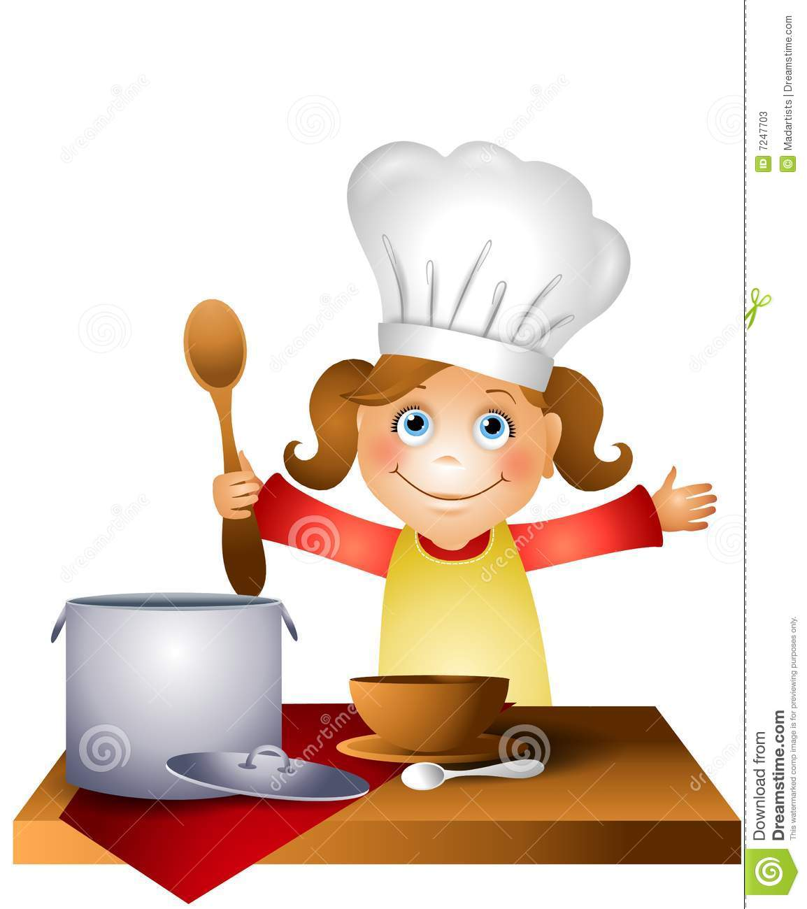 hight resolution of girl child in chef hat clipart kid vector library stock