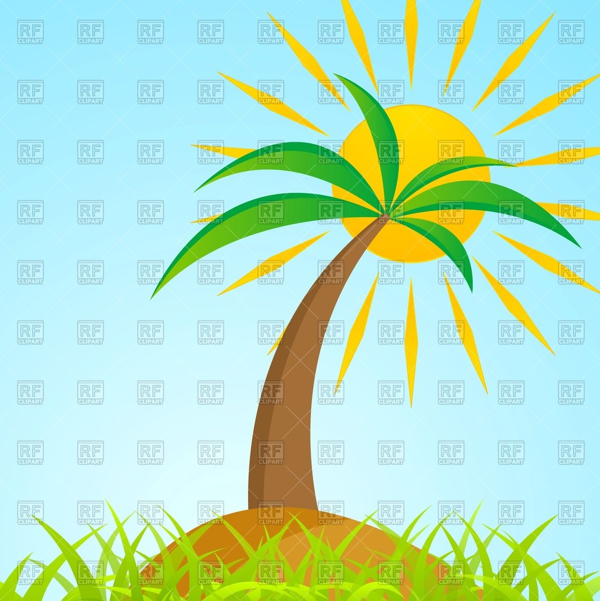 hight resolution of palm clipart sun tropical tree on grass jpg royalty free