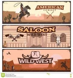 wild west clipart banner set stock vector illustration clip art transparent library [ 1300 x 1390 Pixel ]