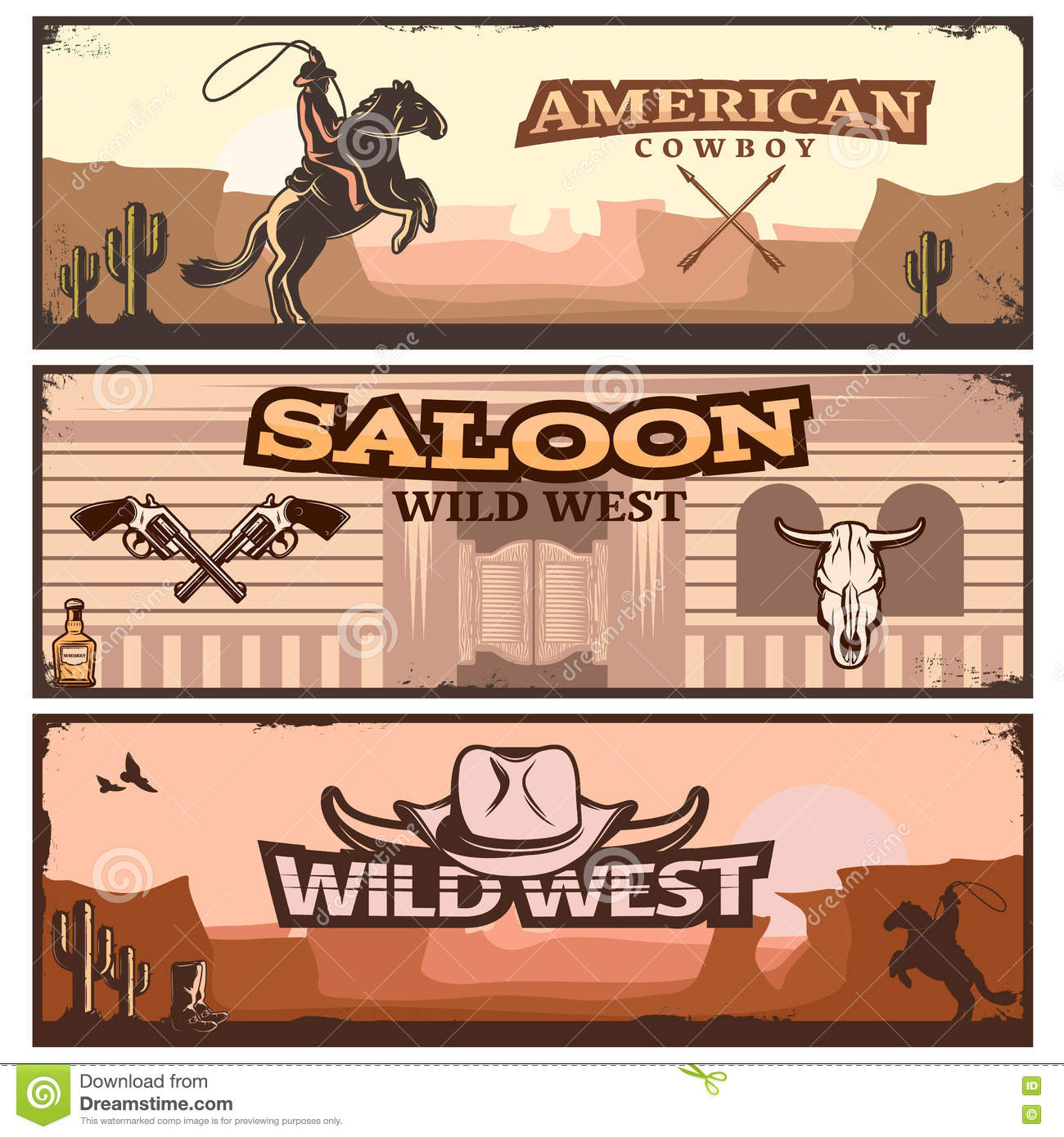 hight resolution of wild west clipart banner set stock vector illustration clip art transparent library