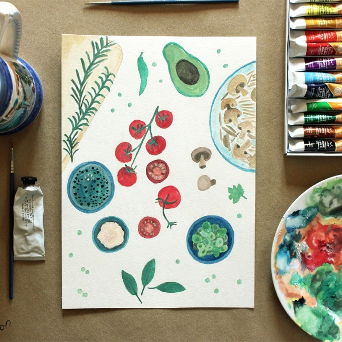 Gouache Experiments: Italian Food Ingredients