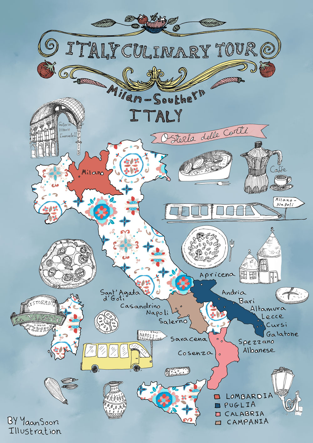 Italy Culinary Tour: A Foo's Illustrated Map of Italy ... on map art, map background, map making, map great britain, map of california and mexico, map app, map clipart, product illustration, map of victoria, map paper, map travel, map books, map of the south sewanee university, digital illustration, map cartoon, map of belfast and surrounding areas, map of spanish speaking world, map key, technical illustration, architectural illustration, medical illustration, map design, map of louisiana and mississippi, map infographic, map print,