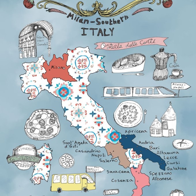 Italy Culinary Tour: A Foodie's Illustrated Map of Italy | Food and travel illustration + Italy Illustrated Map | By Yaansoon Illustration + Art
