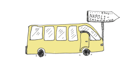 Italy Culinary Tour: A Foodie's Illustrated Map of Italy | Food and travel illustration, spot illustration of a bus touring Italy | Yaansoon Illustration + Art