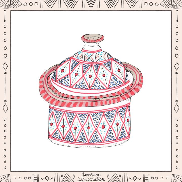 Illustrated North African Earthenware: 8 Pottery Illustrations from My Multi-Cultural Heritage, Tunisian Ceramic Serving Soup Bowl | Yaansoon Illustration + Art | Pen-and-ink illustration, alcohol markers illustration, North African pattern, red and black pattern, Andalusian Tunisian ceramics