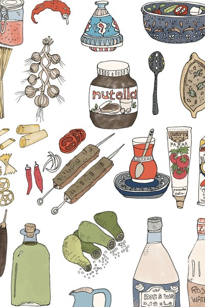 Mediterranean Food Illustrations: Italian, Moroccan and Turkish Culinary Tour