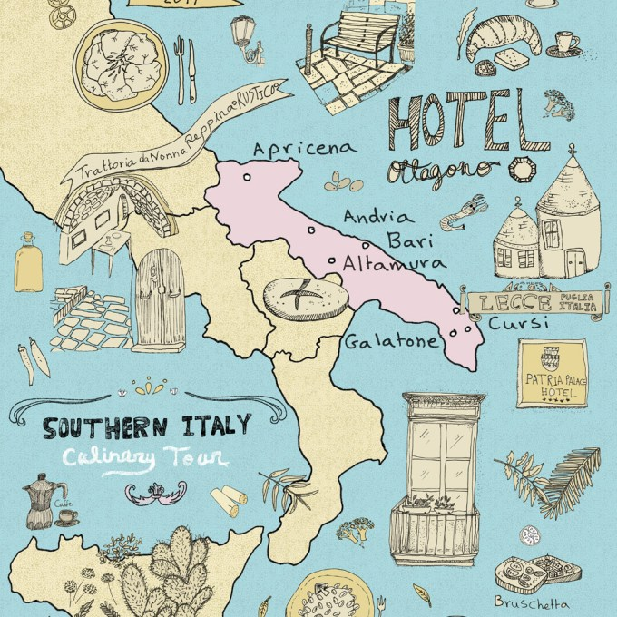 Italy culinary tour a foodies illustrated map of italy yaansoon italy culinary tour illustrated map of puglia gumiabroncs Image collections