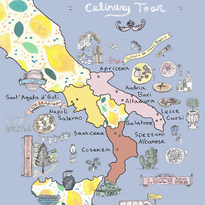 Italy Culinary Tour: Southern Italy Illustrated Map | Food illustration and travel illustration + Napoli Illustrated Map | By Yaansoon Illustration + Art