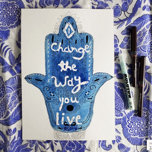 Watercolour Experiments: Hand of Fatima using Molotow Masking Fluid Pen | By Yaansoon Illustration + Art | Pen-and-ink sketch, blue and white, indigo, inspiring quote