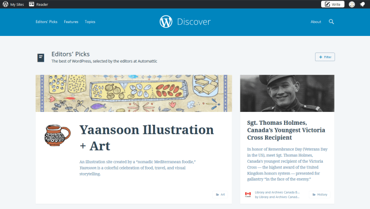 Press & Mentions | Yaansoon Illustration + Art was featured on WordPress Discover, part of WordPress.com, on Saturday 11.11.2017 in the Editor's Pick section.