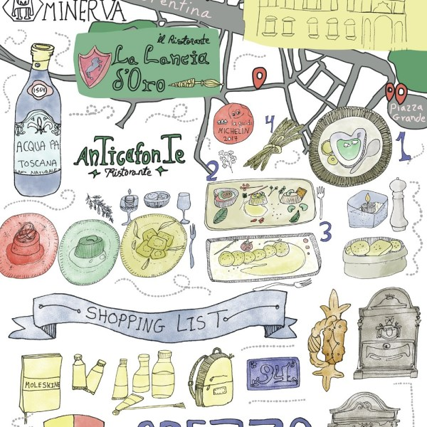 Italy Culinary Tour: Illustrated Food Map of Arezzo in Tuscany | Travel Illustration & Illustrated Map | Yaansoon Illustration + Art