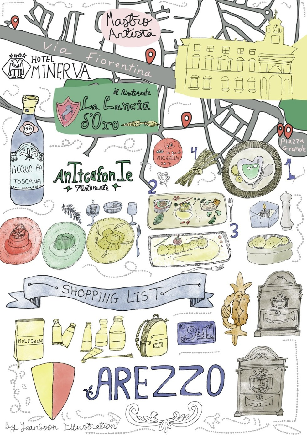 Italy Culinary Tour: Illustrated Food Map of Arezzo in Tuscany ...