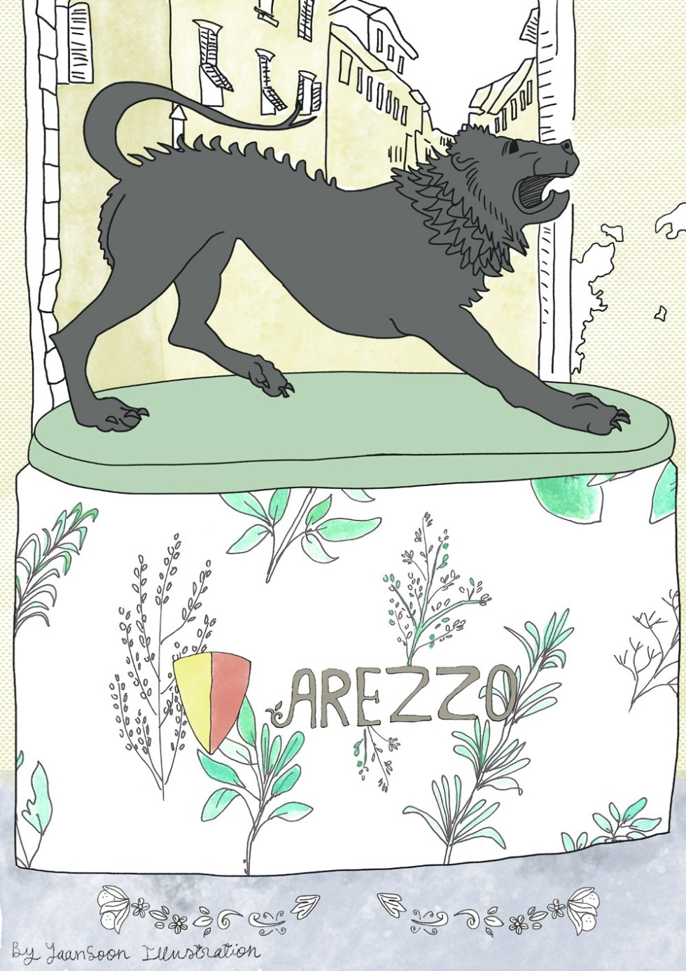 Italy Culinary Tour: Illustrated Food Map of Arezzo in Tuscany | Travel Illustration & Illustrated Map, Chimera of Arezzo | Yaansoon Illustration + Art