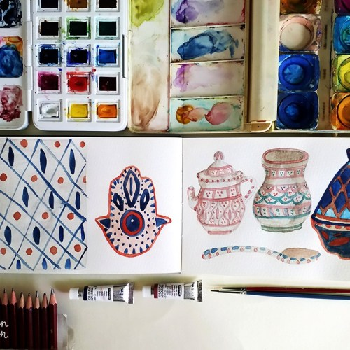 Watercolour Experiments: Moroccan and North African Patterns | By Yaansoon Illustration + Art | Watercolour illustrations on a Moleskine Sketchbook