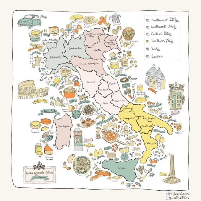 Italian Restaurant Wall Art Illustration: Illustrated Maps & Illustrated Recipes Commissioned by UK-Based La Mia Mamma