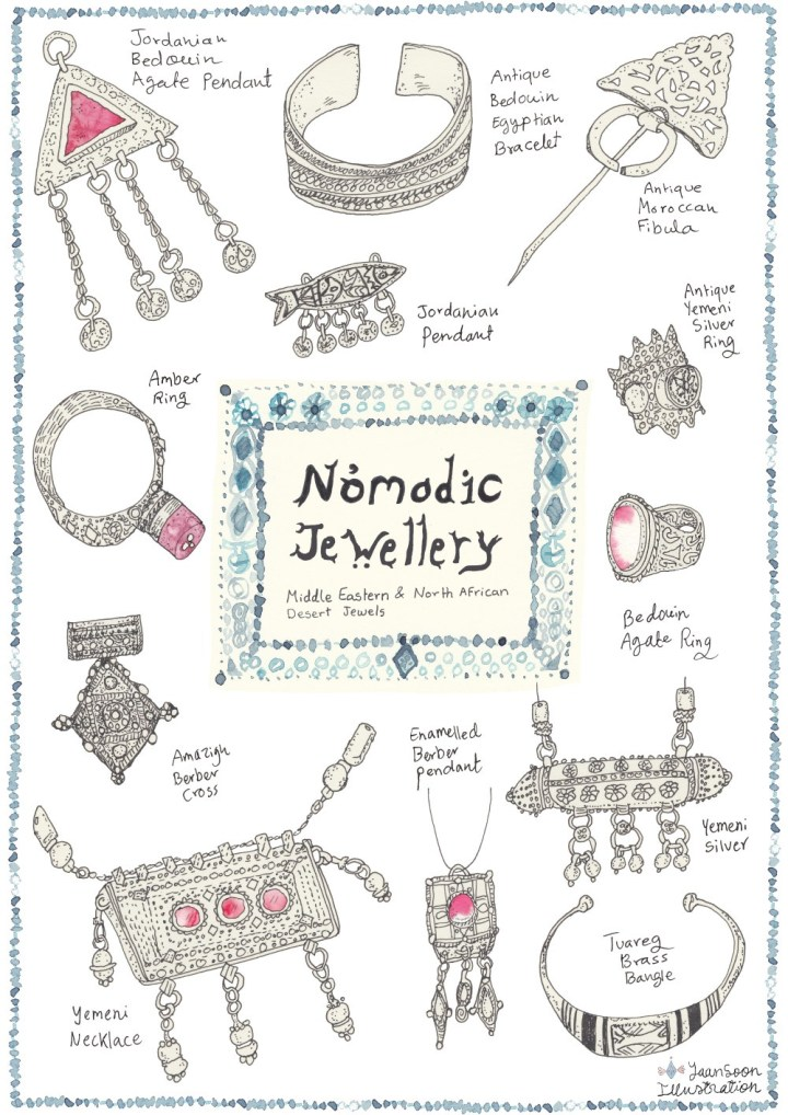 Illustrated Nomadic Jewellery: Middle Eastern and North African Desert Jewels | Yaansoon Illustration + Art | Travel illustration, fashion illustration, cultural illustration, style illustration, pen-and-ink illustration, watercolour and ink illustration, Middle Eastern hand-lettering, tribal Jewellery, jewelry illustration, illustrated jewelry