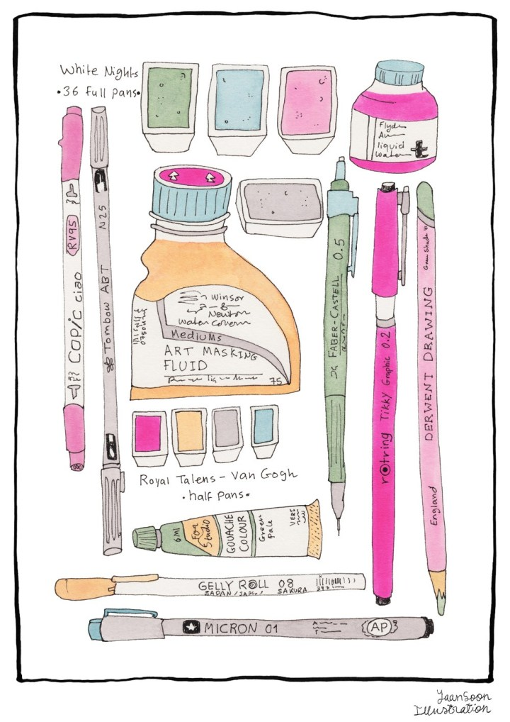 My Analogue Illustration Tools: Ink, Watercolour, Gouache, Coloured Pencils, & Markers | Yaansoon Illustration + Art | Winsor & Newton professional & student-grade watercolours, White Nights watercolours, Copic markers, professional Kolinsky brushes, etc.