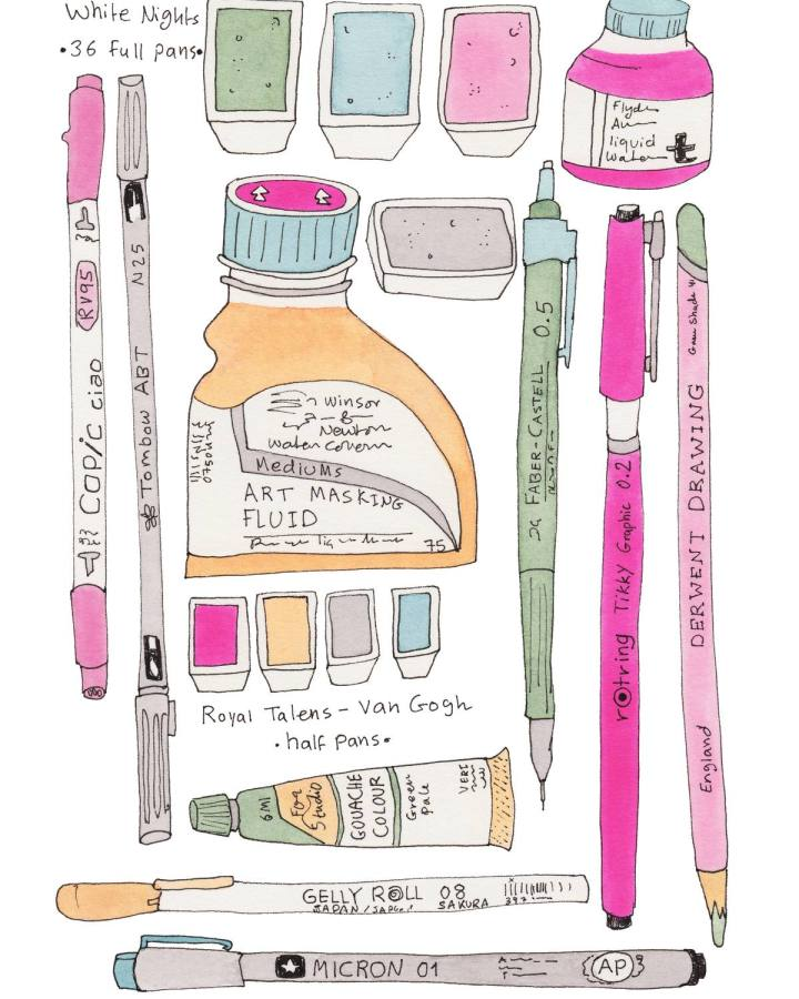 My Analogue Illustration Tools: Ink, Watercolour, Gouache, Coloured Pencils, & Markers | Yaansoon Illustration + Art | Tombow brush pens, Rotring Tikky ink pen, Gelly Roll white pen, Van Gogh half pan watercolours by Royal Talens, White Nights full pan watercolours, Copic marker.