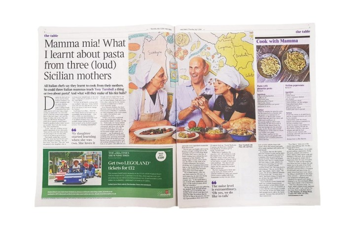 Writer Tony Turnbull from The Times newspaper at London-based La Mia Mamma restaurant. In the background you can see an illustrated Italy map by Yaansoon Illustration | Photo by Katie Wilson for The Times | Press Clipping