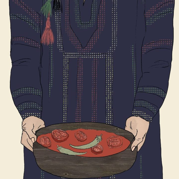 Jordanian Galayet Bandora: An Easy Middle Eastern Fried Tomatoes Recipe with Olive Oil and Pita Bread | By illustrator and artist Yaansoon | Illustrated Recipes, Cultural Food Illustration, Middle Eastern Cuisine, Traditional Middle Eastern Food Illustration, Jordanian Food, Illustrated Woman Serving Food, Traditional Jordanian Dress, Tribal Dress