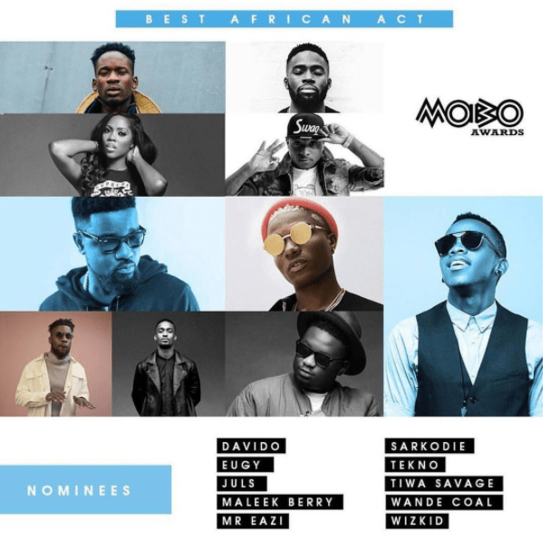 Sarkodie, Wizkid, Eugy, Juls & More Nominated For The 2017 MOBO Awards