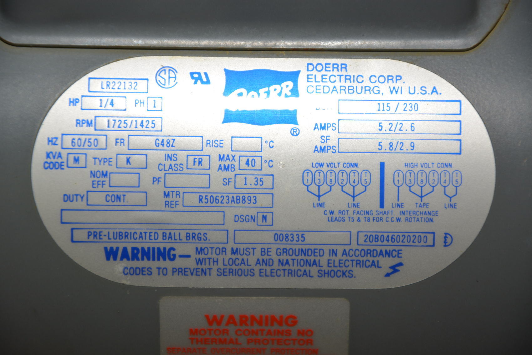 doerr electric motor wiring diagram humbucker pickup single phase blower lr22132 hp 1 4 volts 115 230 inv