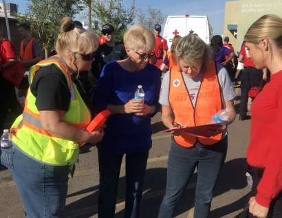 Then-Mayor Thelda Williams (second from left) attends a neighborhood smoke alarm awareness walk, October 2018. (City of Phoenix)
