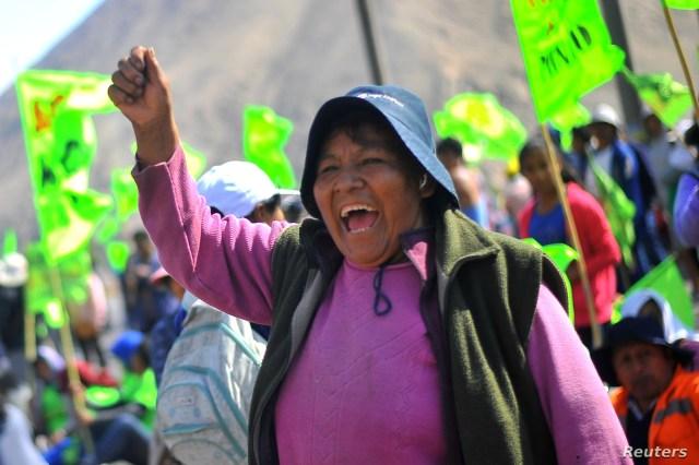 Demonstrators protest against Tia Maria mine in Arequipa, Peru, July 15, 2019.