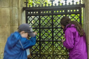 Peeping into the mausoleum through the gate