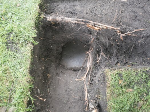 Dougie found a new small gravestone in a DHCP trench