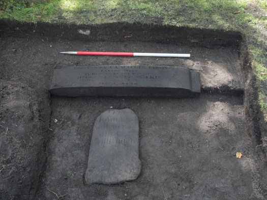 The gravestones in the west trench at the end of the day