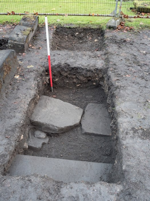 Four stones in one trench. Note the depth of the rubble layer at the back of the trench