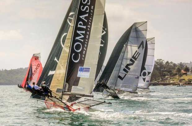 The fleet was tightly packed throughout the race - 18ft Skiffs Australian Championship © Michael Chittenden