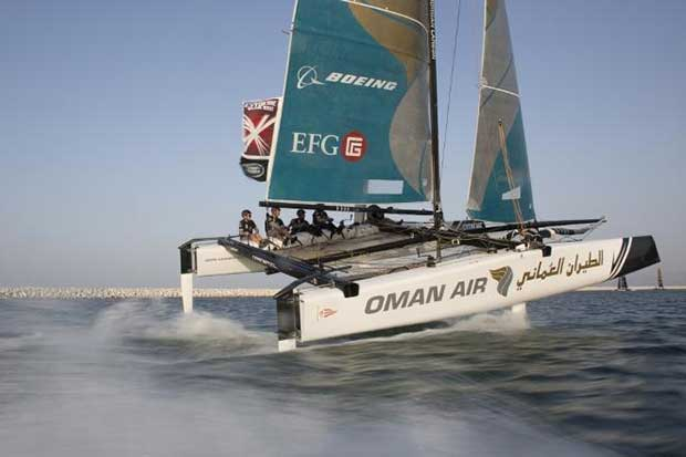 Extreme Sailing Series 2016. Act 1. Muscat Oman. Picture shows the Oman Air team skippered by Morgan Larson (USA) with team mates Pete Greenhalgh (GBR) Ed Smyth (NZL) , Nasser Al Mashari (OMA) and James Wierzbowski Lloyd Images